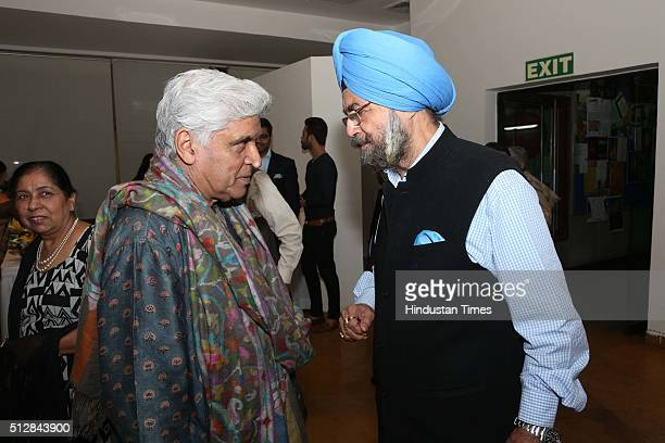 Bollywood lyricist Javed Akhtar during an art show and release of a coffee table book 'Sujata Bajaj Ganapati' by artist Sujata Bajaj at Visual Arts...