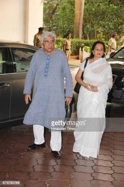 Bollywood lyricist Javed Akhtar during the prayer meeting organised for the late Bollywood veteran Vinod Khanna at Worli on May 3 in New Delhi India...