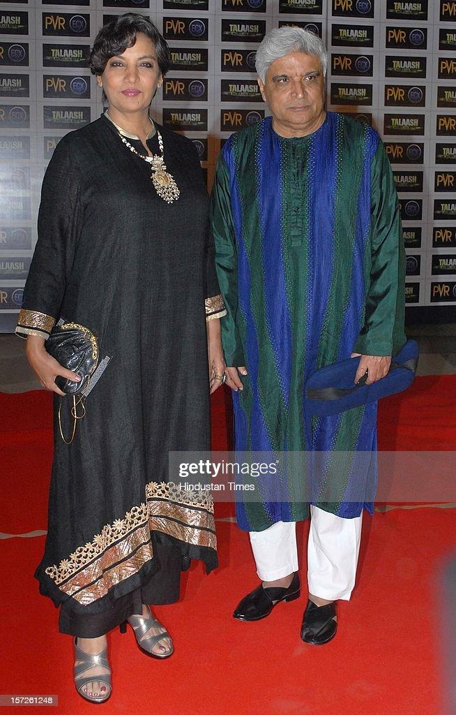 Bollywood poet, lyricist and scriptwriter Javed Akhtar with his wife Shabana Azmi attending special screening of Film 'Talaash' at Phoenix Marketcity Mall, Kurla on November 29, 2012 in Mumbai, India.