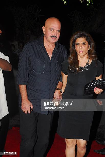 Bollywood producer and director Rakesh Roshan with wife Pinky Roshan during the celebration of Sridevi's 50th birthday at Alibi Colaba on August 17...