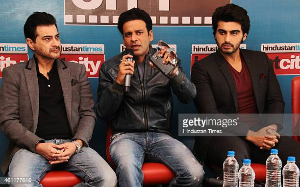 Bollywood producer Sanjay Kapoor with actors Manoj Bajpai and Arjun Kapoor during an exclusive interview for their upcoming movie Tevar at HT Media...