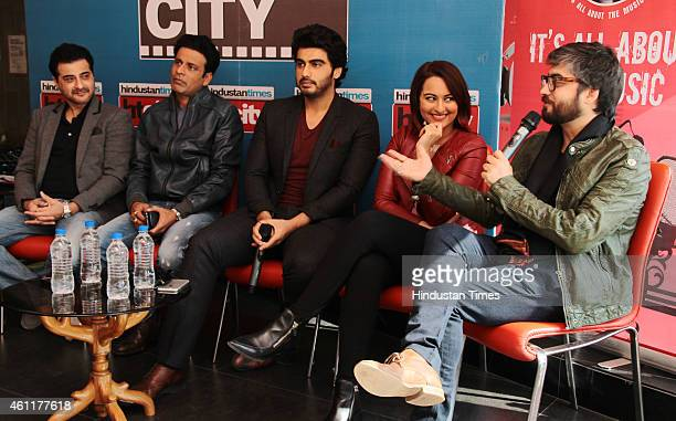 Bollywood producer Sanjay Kapoor with actors Manoj Bajpai Arjun Kapoor and Sonakshi Sinha and director Amit Sharma during an exclusive interview for...