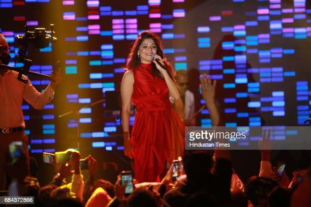 Bollywood singer Kanika Kapoor performs during the launch of prestigious project Elan Miracle hosted by Real Estate Company Elan Group on May 13 2017...