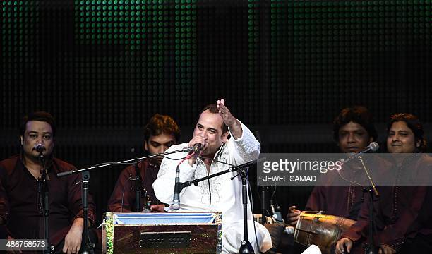 Bollywood singer Rahat Fateh Ali Khan performs on stage at the Mid Florida Credit Union Amphitheater during the IIFA Magic of the Movies show on the...