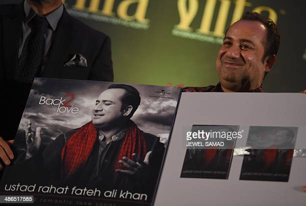Bollywood singer Rahat Fateh Ali Khan presents his latest releaseduring a press conference at the Hilton Downtown Hotel on the second day of the 15th...