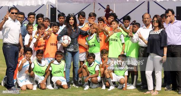 Bollywood singer Shibani Kashyap during a friendly football match organised by SARE Homes India's premier FDIfunded developers with seven integrated...