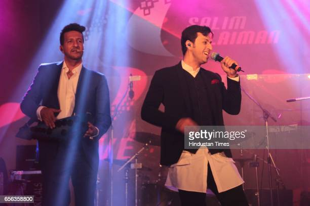 Bollywood singers Salim and Sulaiman Merchant performing during the roka ceremony of Kumar Dhruva and Taru Jain on March 19 in New Delhi India Kumar...