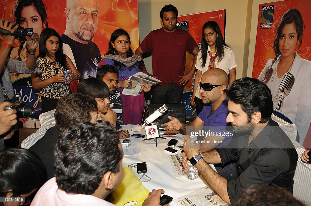 Bollywood singers Vishal Dadlani and Shekhar Ravjiani interacting with media after the auditions of the Indian Idol Junior at Expo Centre Sector 62 on April 3, 2013 in Noida, India. The awesome trio were thrilled by the phenomenal response to the audition. Enthusiastic people were seen queuing up for their claim to fame from the wee hours of the morning.