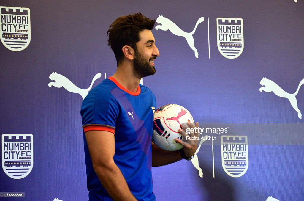 Bollywood star and co-owner of the Mumbai City FC team, <a gi-track='captionPersonalityLinkClicked' href=/galleries/search?phrase=Ranbir+Kapoor&family=editorial&specificpeople=4534979 ng-click='$event.stopPropagation()'>Ranbir Kapoor</a>, at the unveiling of the new Puma Mumbai City FC jersey and kit on August 22, 2015 in Mumbai, India.