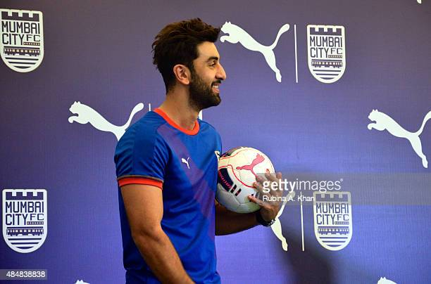 Bollywood star and coowner of the Mumbai City FC team Ranbir Kapoor at the unveiling of the new Puma Mumbai City FC jersey and kit on August 22 2015...
