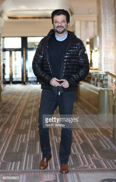 Bollywood Star Anil Kapoor attends a photocall for the Bollywood comedy 'Mubarakan' on March 11 2017 at the Sheraton Park Lane Hotel in London United...