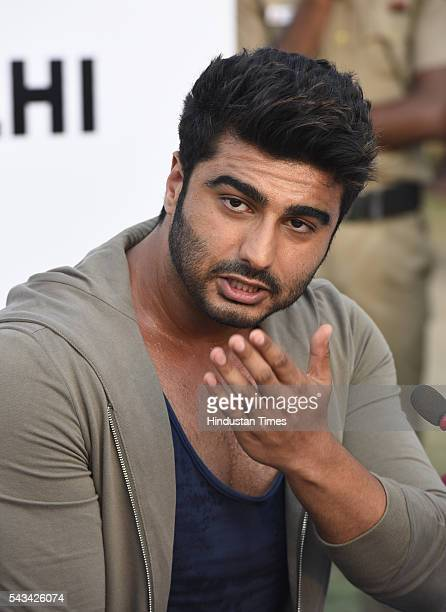 Bollywood star Arjun Kapoor addresses media during the Road Safety Awareness Campaign at India Gate on June 28 2016 in New Delhi India