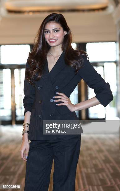Bollywood Star Athiya Shetty attends a photocall for the Bollywood comedy 'Mubarakan' on March 11 2017 at the Sheraton Park Lane Hotel in London...