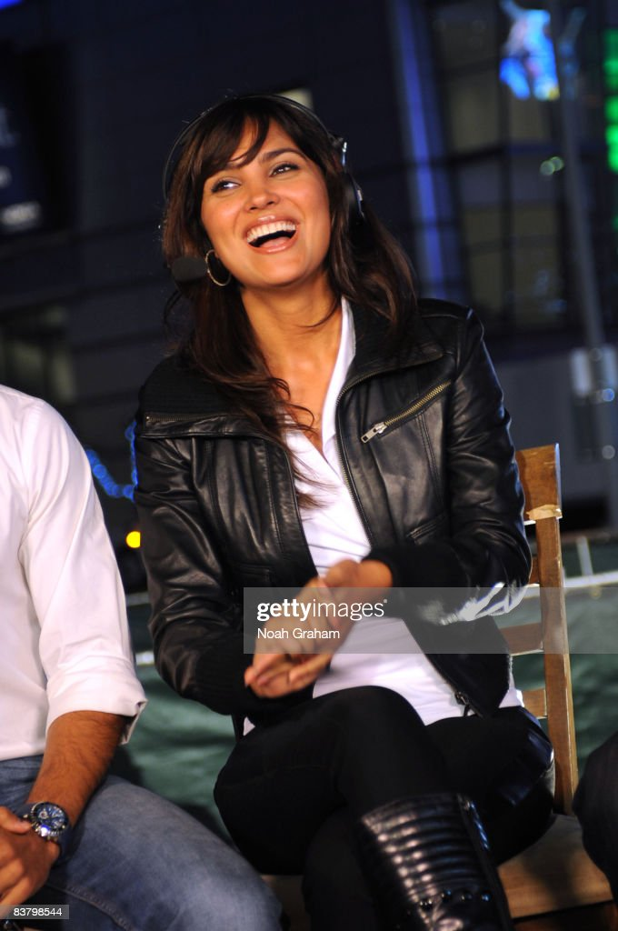 Bollywood star Lara Dutta participates in an interview before the game between the Sacramento Kings and the Los Angeles Lakers at Staples Center on...