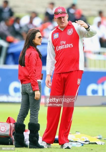 Bollywood star Preity Zinta chats to Tom Moody during the IPL T20 match between Kings XI Punjab v Kolkata Knight Riders at Sahara Park on April 21...