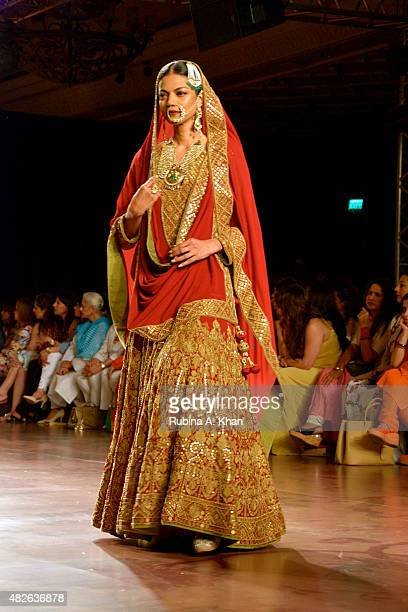 Bollywood star Richa Chaddha was Indian designer Reynu Taandon's showstopper for her Persian inspired couture line on day four of the Fashion Design...