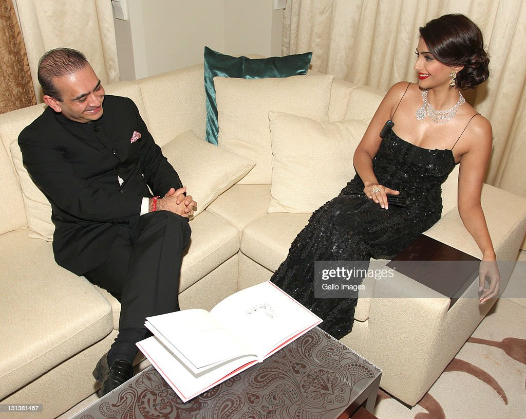 EMIRATES, DUBAI - OCTOBER 31, Bollywood star <a gi-track='captionPersonalityLinkClicked' href=/galleries/search?phrase=Sonam+Kapoor&family=editorial&specificpeople=4504004 ng-click='$event.stopPropagation()'>Sonam Kapoor</a> wearing Nirav Modi jewellery at the Nirav Modi jewellery launch at the One & Only Palm on October 31, 2011 Jumeirah, Dubai.