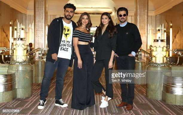 Bollywood Stars Arjun Kapoor Ileana D'Cruz Athiya Shetty and Anil Kapoor attend a photocall for the Bollywood comedy 'Mubarakan' on March 11 2017 at...