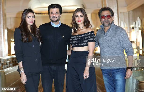 Bollywood Stars Athiya Shetty Anil Kapoor Ileana D'Cruz and Director Anees Bazmee attend a photocall for the Bollywood comedy 'Mubarakan' on March 11...