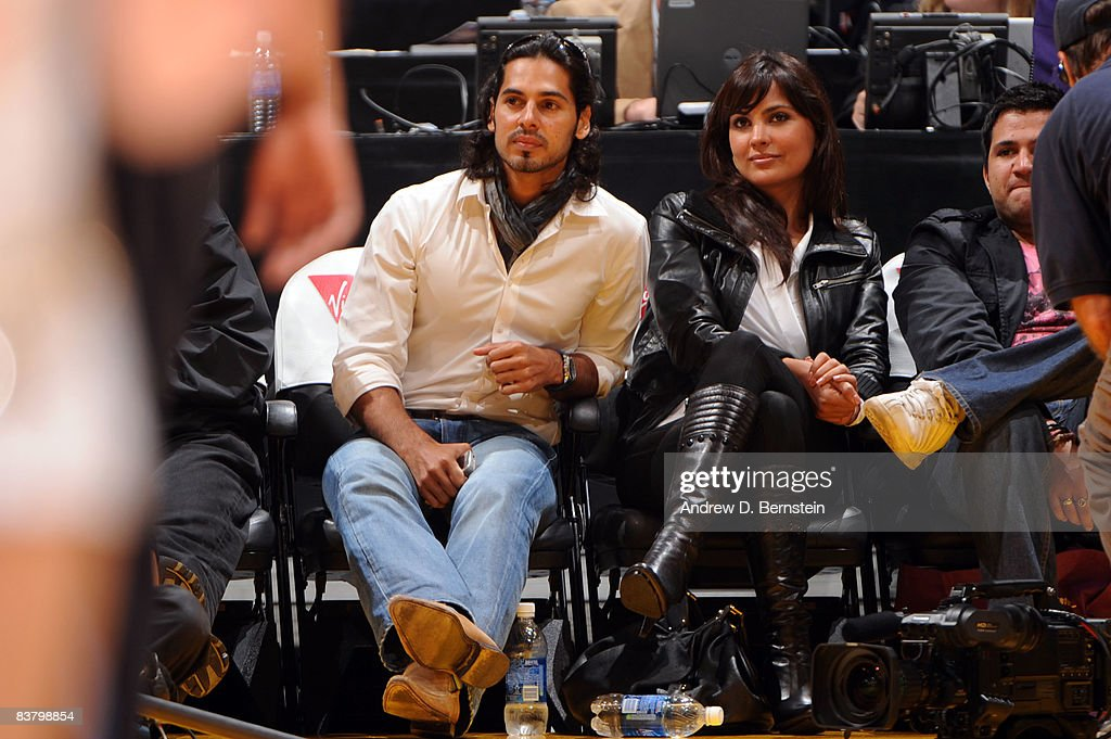 Bollywood stars Dino Morea and Lara Dutta attend the game between the Sacramento Kings and the Los Angeles Lakers at Staples Center on November 23...
