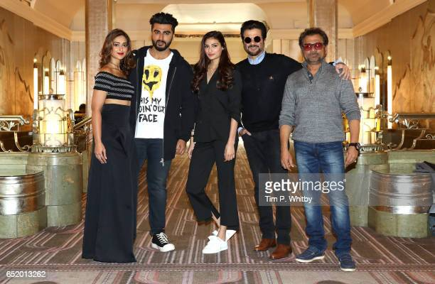 Bollywood Stars Ileana D'Cruz Arjun Kapoor Athiya Shetty Anil Kapoor and Director Anees Bazmee attend a photocall for the Bollywood comedy...