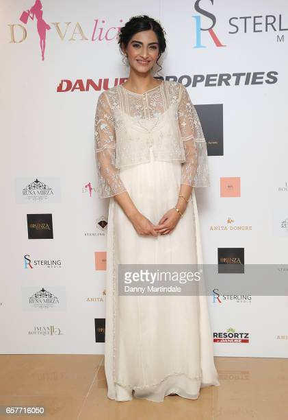 Bollywood superstar Sonam Kapoor attends Divalicious on March 25 2017 in London United Kingdom