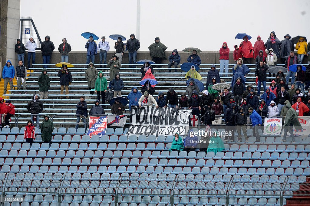 FC Bologna fans show their support during the Serie A match between Udinese Calcio and Bologna FC at Stadio Friuli on March 30, 2013 in Udine, Italy.