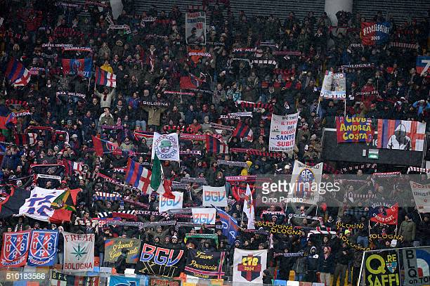 Bologna fans shows their support during the Serie A match between Udinese Calcio and Bologna FC at Stadio Friuli on February 14 2016 in Udine Italy