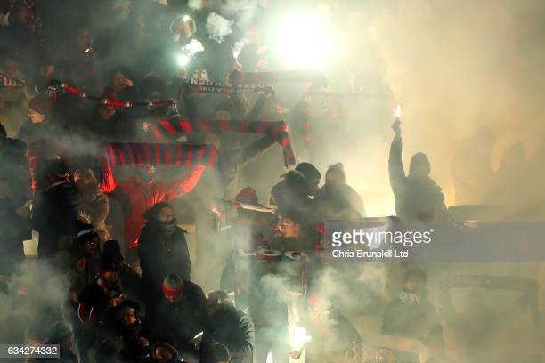 Bologna FC fans support their team during the Serie A match between Bologna FC and AC Milan at Stadio Renato Dall'Ara on February 8 2017 in Bologna...