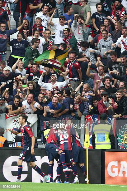 Bologna forward Anthony Mounier celebrates with his teammates after scoring his goal during the Serie A football match n7 JUVENTUS BOLOGNA on...