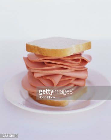 Bologna on White Bread : Stock Photo