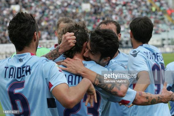 Bologna players celebrate a goal scored by Alessandro Diamanti during the Serie A match between AC Siena and Bologna FC at Artemio Franchi Mps Arena...