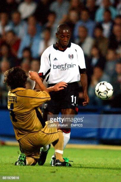 Bologna Reanto Olive tackles Fulham Luis Boa Morte