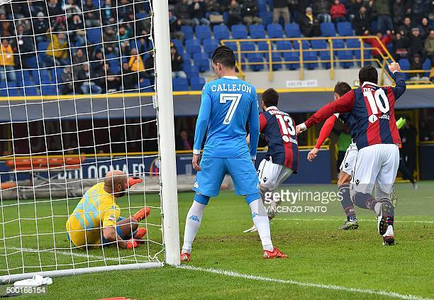Bologna's defender from Italy Luca Rossettini celebrates after scoring during the Italian Serie A football match Bologna vs Napoli at the Dall'Ara...