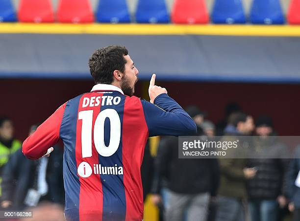 Bologna's forward from Italy Mattia Destro celebrates after scoring during the Italian Serie A football match Bologna vs Napoli at the Dall'Ara...