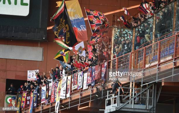 Bologna's supporters happy after goal 01 of Federico Viviani during the Serie A match between Genoa CFC and Bologna FC at Stadio Luigi Ferraris on...