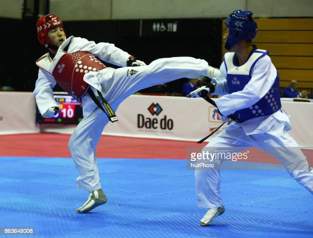 BolorErdene Ganbat of Mongolia against Javokhir Alikulov of Uzbekistan in the K44 Male K44 61 Match 310 during 7th World Para Taekwondo Championships...