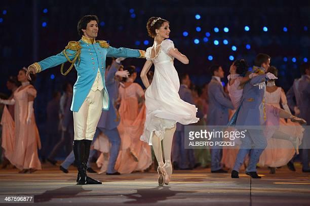 Bolshoi dancer Svetlana Zakharova performs during the Opening Ceremony of the Sochi Winter Olympics at the Fisht Olympic Stadium on February 7 2014...