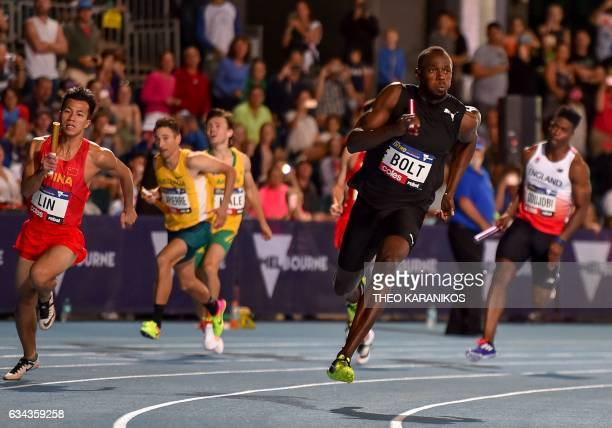 TOPSHOT Bolt All Stars captain Usain Bolt of Jamaica competes in the Mixed 4 x 100 metre relay during the Nitro Athletics meet in Melbourne on...