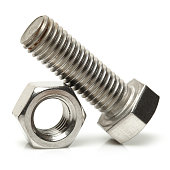 Bolt and Nut  on the white background