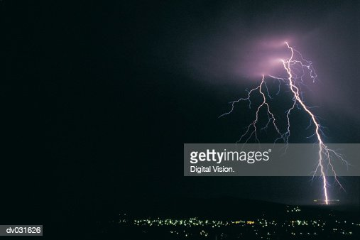 Bolt of lightning at night over Somerset West, South Africa