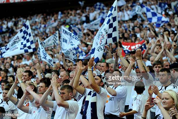 Bolton fans cheer prior to the FA Cup sponsored by EON semi final between match Bolton Wanderers and Stoke City at Wembley Stadium on April 17 2011...