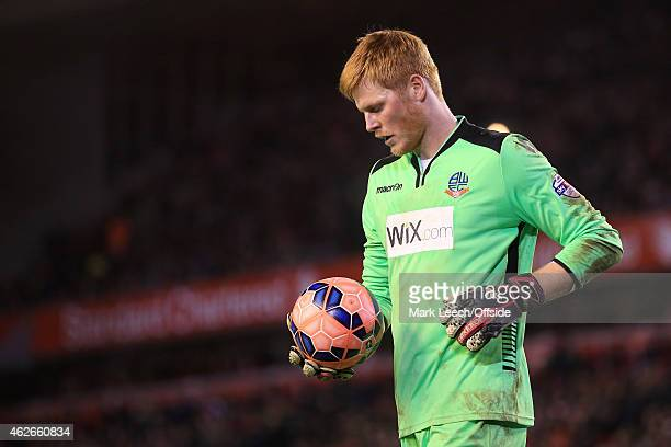 Bolton goalkeeper Adam Bogdan in action during the FA Cup Fourth Round match between Liverpool and Bolton Wanderers at Anfield on January 24 2015 in...