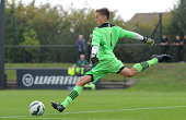 Bolton goalkeeper Will Jaaskelainen in action during the Barclays Premier League Under 18 fixture between Liverpool and Bolton Wanderers at the...