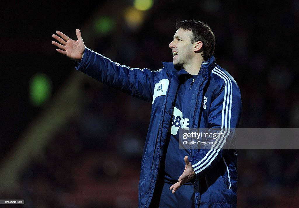 Bolton manager <a gi-track='captionPersonalityLinkClicked' href=/galleries/search?phrase=Dougie+Freedman&family=editorial&specificpeople=710974 ng-click='$event.stopPropagation()'>Dougie Freedman</a> gets animated during the npower Championship match between Watford and Bolton Wanderers at Vicarage Road on February 02, 2013 in Watford England.