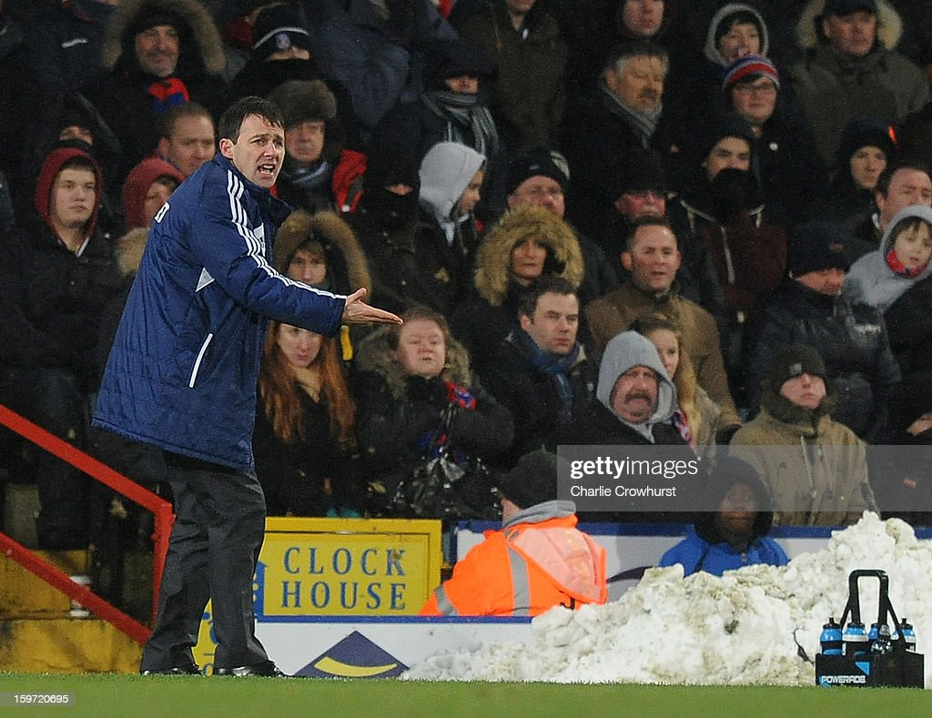Bolton manager <a gi-track='captionPersonalityLinkClicked' href=/galleries/search?phrase=Dougie+Freedman&family=editorial&specificpeople=710974 ng-click='$event.stopPropagation()'>Dougie Freedman</a> gives orders to his team during the npower Championship match between Crystal Palace and Bolton at Selhurst Park on January 19, 2013 in London England.