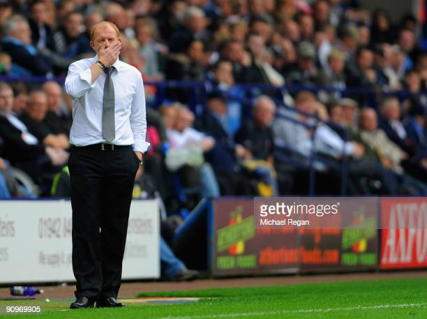 Bolton manager Gary Megson reacts during the Barclays Premier League match between Bolton Wanderers and Stoke City at the Reebok Stadium on September...