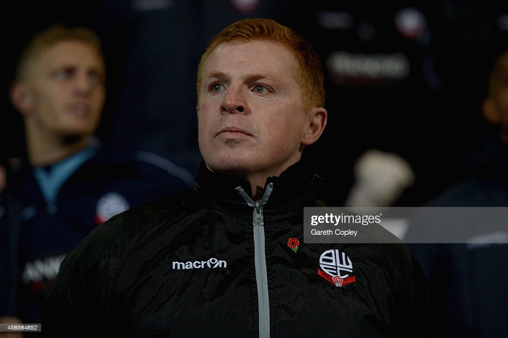 Bolton manager Neil Lennon during the Sky Bet Championship match between Bolton Wanderers and Wigan Athletic at Macron Stadium on November 7 2014 in...