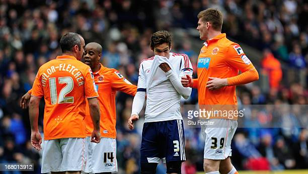 Bolton player Marcos Alonso reacts during the npower Championship match between Bolton Wanderers and Blackpool at Reebok Stadium on May 4 2013 in...