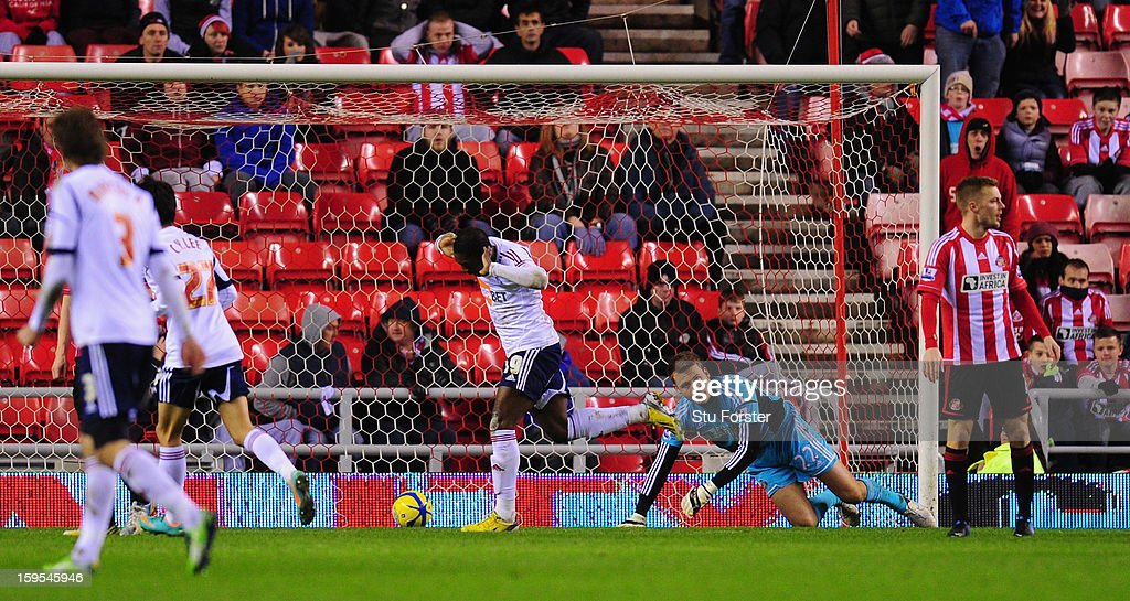 Bolton player Marvin Sordell celebrates his second goal past Sunderland goalkeeper Simon Mignolet during the FA Cup Third Round Replay between Sunderland and Bolton Wanderers at Stadium of Light on January 15, 2013 in Sunderland, England.